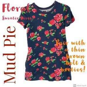 MudPie Floral Sweater Dress w/Pockets Sz S